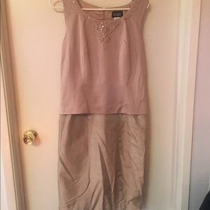 Size 6 rose colored Adrianna Papell raw silk dress